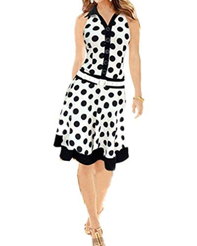 ZANZEA Femme à Pois Col V Blanc Noir Robe Blanc