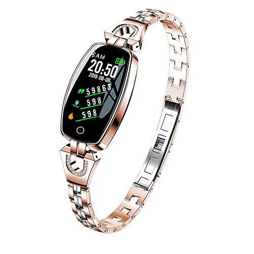 Mode Fitness Tracker | Smartwatch mit Blutdruck- und Herzfrequenz Monitor | H8 Farbbildschirm, Diamant Edelstahl | Mehrfachsportmodus | Fitness Uhr für Android und IOS Smartphones | Damen Herren