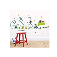 Vinyl Wall Sticker 3D Wall Stickercute Robots Rocket Wall Stickers for Kids Room Nursery Indoor Decor DIY Art Removeable Decals Home Decoration 108X42Cm