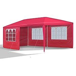 JOM Gazebo 3 x 6 m, Mirador, Pabellón, Carpa de Jardín con 6 Paredes Laterales 110G PE, Rojo