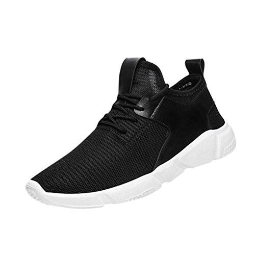 Zapatos Hombre Deportivos,ZARLLE Zapatos Casuales Botines con Cordones Zapatillas Deporte Hombres Running Baratas Zapatos De SóLidos Zapatillas De Senderismo Zapatos para Correr (43, Negro)