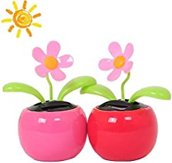 EASY4BUY® Solar Dancing Flower Flip Flap, 2 PCS Assorted Colors, Solar Toys Daisy Flower for Home Office Car