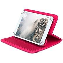 """OME® Funda ZigZag para tablet Universal de 8"""" pulgadas con soporte giratorio (Rosa)"""