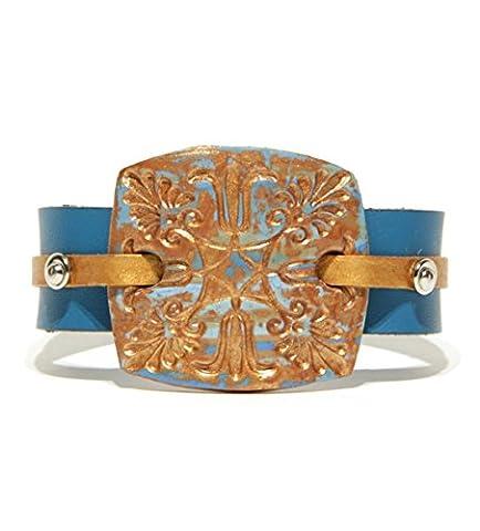 Bracelet cuir clouté pour hommes et femmes - Bracelet turquoise - Bracelet manchette - Bracelet cuir unisex - Bracelet cuir plat véritable - Women's Turquoise Genuine Leather Bracelet