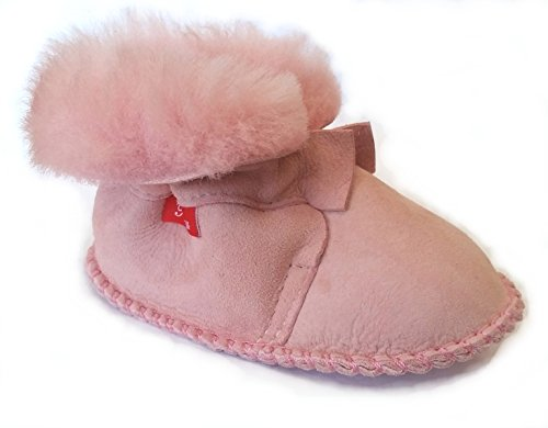 Plateau Tibet - Bottines chaussons pour bébé avec doublure en VERITABLE laine d'agneau - HuggB - Rose Rose (Light Pink)