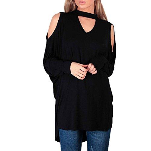 Valentinstag Geschenk!!! Damen Große Größe lose Bluse SHOBDW Frauen Plus Size Solid Liebsten O-Neck Langarm Top T-Shirt Bluse (S, Schwarz)