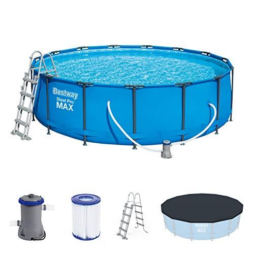 Bestway Steel Pro MAX Frame Pool Set, rund 457x122 cm Stahlrahmenpool-Set mit Filterpumpe + Zubehör, blau