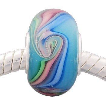 Andante-Stones perle Murano Argent 925 Silber bleu clair avec couleurs pastel Élément bille pour perles European Beads + Étui en organza