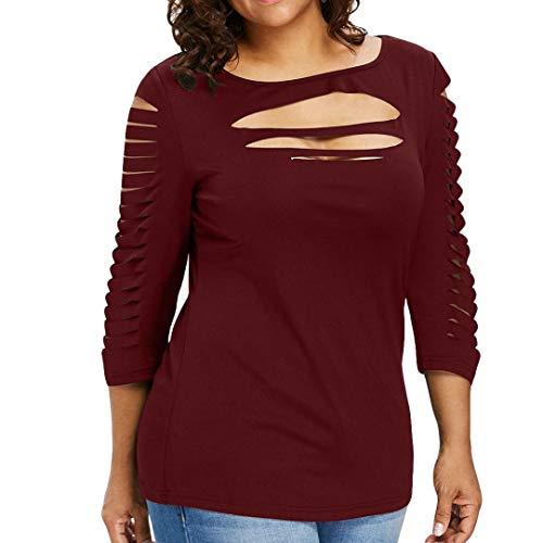 96c414b329cf JURTEE Sommer Damen Einfarbig Oberteile 3 4-Arm Crop Tops DREI Viertel Plus  Size Mode Reißen Bluse T-Shirt Tops(XX-Large,Wein Rot)