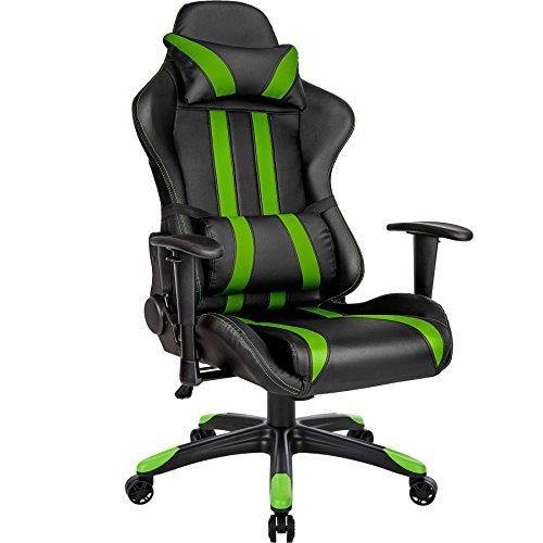 TecTake Silla de oficina ergonomica racing gaming con soporte lumbar - disponible en diferentes colores - (negro verde   no. 402032)
