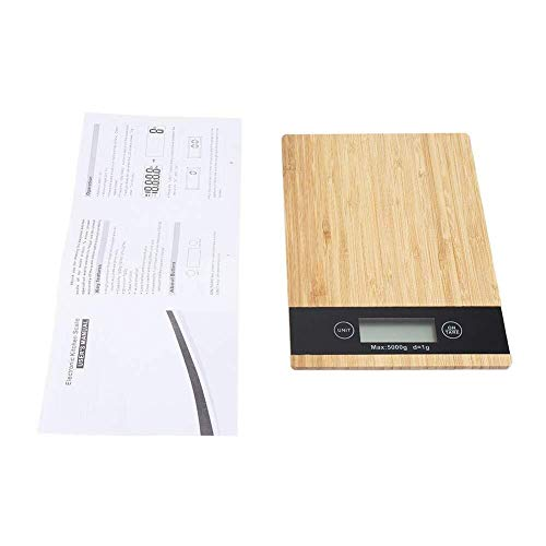 La tecnología avanzada de sensores ofrece respuestas rápidas y precisas; Pantalla LCD retroiluminada grande y fácil de leer.La báscula de cocina está hecha de bambú + ABS, y es segura y no tóxica.Puedes usarlo en tu cocina.Se puede usar repetidamente...
