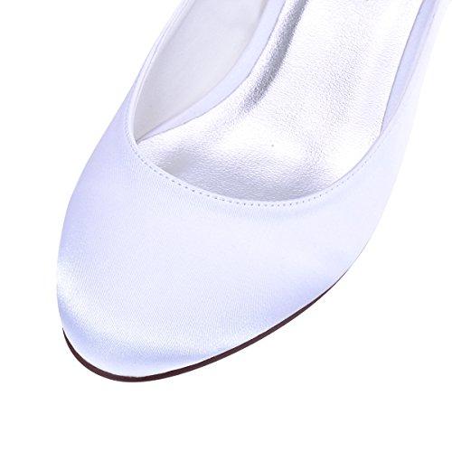 ElegantPark Femmes Bout Fermé Bloc Talon Pompes à sangle de cheville Chaussures de Mariage Soirée Blanc