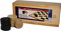 Jouetprive-Pions de jeu de dames en bois avec boite de rangement Alice