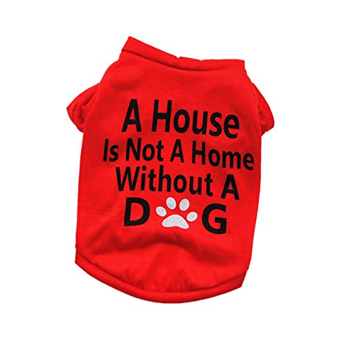 Smniao Hundebekleidung Haustier Kostüm Klein Hund A House is Not A Home Without A Dog Weste für Chihuahua Welpen T-Shirt Kleid Rock (S, Rot)
