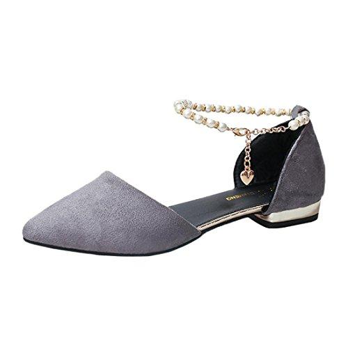 SANFASHION Große Förderung Mode Frauen Perlen Sandalen Knöchel niedrighackigen Casual Party Spitz Schuhe