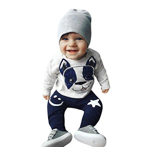 Kleidung Kinder ,Babykleid Winter 2 StüCk Jungen Mädchen Cartoon Hund Ohren Tops Hosen Outfit Set Kleidung By Dragon (Grau, 6M&70CM)
