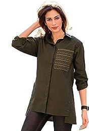VENCA Camisa Cuello Camisero y Botones bajo Tapeta Mujer by Vencastyle - 018335