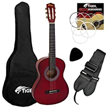 Tiger Beginner 1/2 Size Classical Guitar Pack - Red Guitar, CLG6-RD