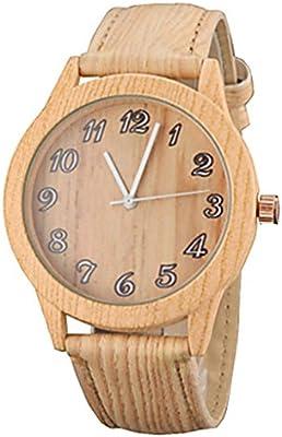 YPS Familiy Padres e Hijos Conjunto de 3 Casual Caqui Madera Dise?o PU Correa reloj de pulsera WTH3133
