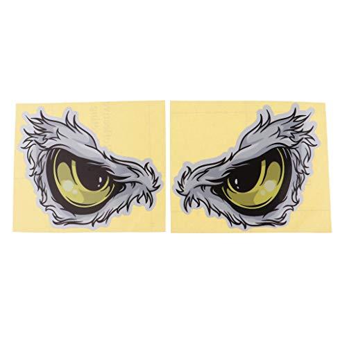 Descripción:       - -1 Par de calcomanías de calcomanías de ojos de águila vívidas, frescas, únicas y atractivas, tres tamaños diferentes que satisfacen las necesidades de diferentes tamaños    - -Reflectivo, impermeable, autoadhesivo, muy r...