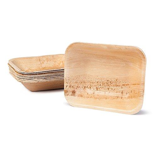 BIOZOYG Hochwertige Einweg Suppenteller tief rechteckig I 16 x 13 cm 100 Stück Snackschale Palmblattgeschirr Pastateller Salatschale I kompostierbares Einweggeschirr biologisch abbaubar 13 Teller