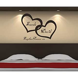 Personalised Love Hearts Wall Art Sticker 72cm (w) x 56cm (h) B5 Please state colour on purchase otherwise black will be sent