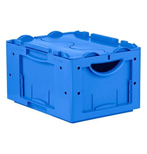 0 Eurokiste Kunststoffbox Transportbox mit Deckel, 400x300 mm, 19,8 l, 50 Kg Tragkraft, Made in Germany, Blau ()