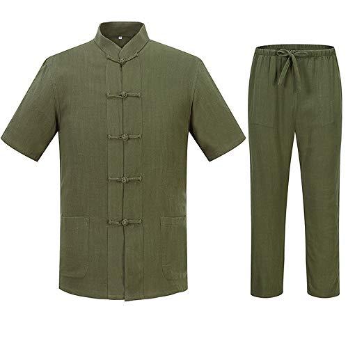 HUI Tai Chi Anzug Männlich Umweltfreundlich Atmungsaktiv Leinen Tai Chi Uniform Kung Fu Anzug Kampfsport (Green Körper Anzug Kostüm)