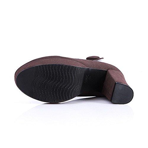 AllhqFashion Femme Velcro à Talon Haut Dépolissement Couleur Unie Rond Chaussures Légeres Brun
