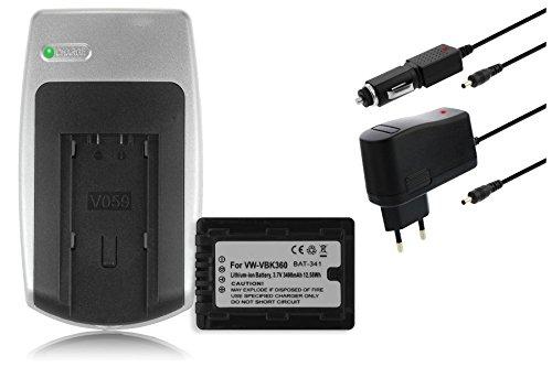 Ladegerät + Akku VW-VBK360 für Panasonic HC-V10 V100 V500 V700 SD90 SD99 SD800 X800... siehe Liste V500-camcorder-batterie