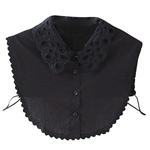 OVERDOSE Damen Abnehmbar Kragen Falscher Kragen, Seide Floral Frauen Kragen Abnehmbare Hälfte Shirt Bluse Hemd (Black,36CM) -
