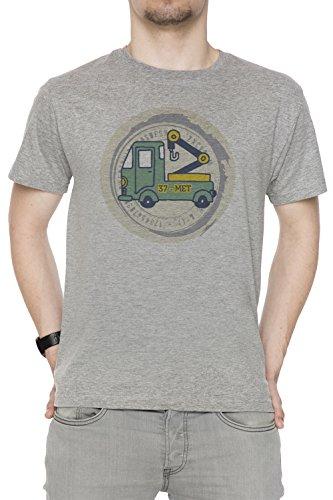 37 Met Uomo T-shirt Grigio Cotone Girocollo Maniche Corte Grey Men's T-shirt