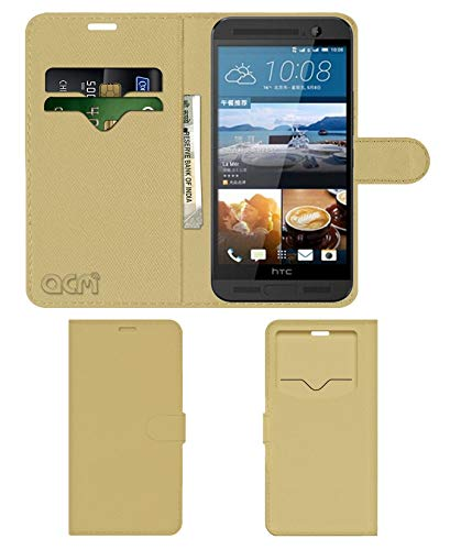 Acm Leather Window Flip Wallet Front & Back Case for HTC One Me Mobile Cover Golden