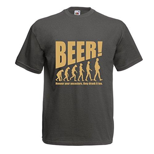 Maglietta da Uomo The Beervolution - Idee Regalo sarcasche Divertenti uniche per Gli Amanti della Birra, L'Evoluzione del Bere (Large Grafite Oro)