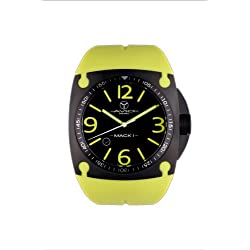 Avio Milano Men's Quartz Watch with Black Dial Analogue Display and Green Rubber Strap MK BK 1003