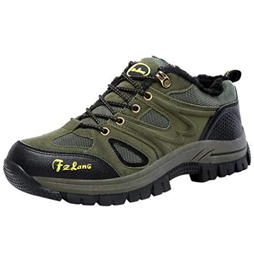 HDUFGJ Herren Trekking-& Wanderhalbschuhe Plus Samt Warm halten rutschfeste Outdoor-Schuhe Schneeschuhe Verschleißfest Freizeitschuhe Wasserdicht Laufschuhe Bequem Leichtgewicht38 EU(Armee grün)
