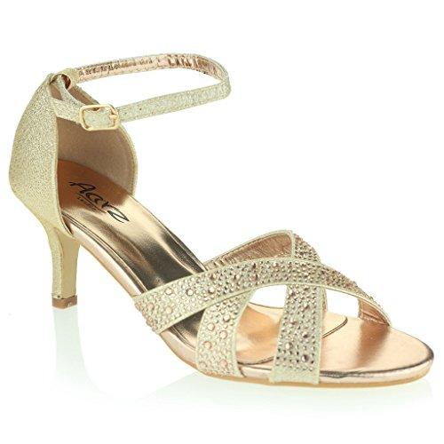 Femmes Dames Glamour Orteil Ouvert Sandales à Lanières Talon Moyen Soir Fête Mariage Bal de Promo Diamante De Mariée Chaussures Taille Champagne