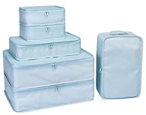 Packing Cubes 6 Set-TZbonjourney-Travel Luggage Packing Organizers with Shoe Bag(Blue)