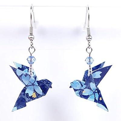 Boucles d'oreilles colombes origami bleues avec des fleurs bleu ciel - crochet inox