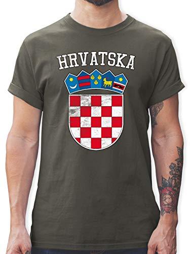 Fußball-Europameisterschaft 2020 - Kroatien Wappen WM - 3XL - Dunkelgrau - L190 - Tshirt Herren und Männer T-Shirts