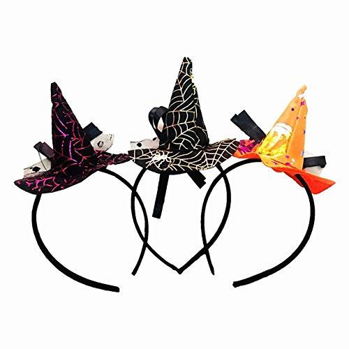 Jspoir Melodiz 3pcs Hallowwen Dekoration Mini Hexe Hut Stirnbänder Hallowwen Haarspange für Hallowwen Kostüm Requisiten und Cosplay Make up