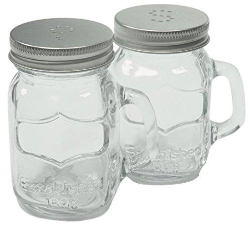 Country Kitchen Retro Glas Mason Glas Salz und Pfeffer Shaker Set mit Griffen (Griffen Mit Großen Gläser Mason)