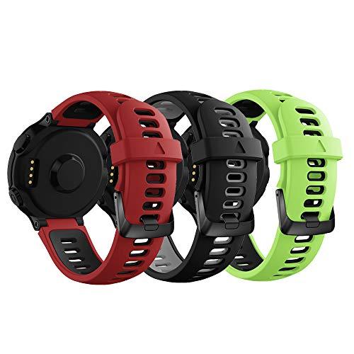 YaYuu Garmin Forerunner Armband,Ersatz Verstellbare Uhrenarmbänd Fitness Tracker Silikon Sports Armband für Garmin Forerunner 735XT/230/235/620/630 GPS Laufuhr (A2,3 Stück)
