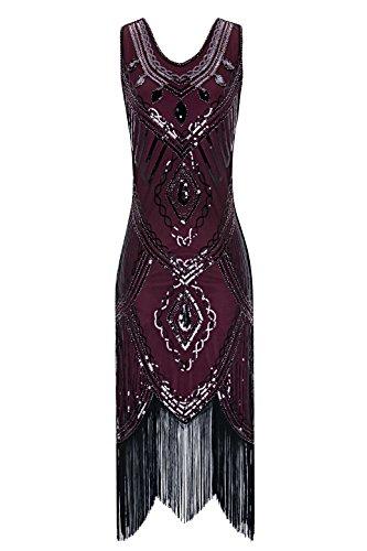 (Metme Damen 1920er Jahre Inspiriert Klassischen V Ausschnitt ärmellose Perlen Pailletten Great Gatsby Kleid Partei Kleidung)