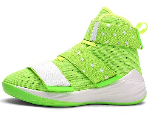 GNEDIAE Herren GNE007 High-Top Basketball Schuhe Outdoor Anti-Rutsch Sneaker Atmungsaktiv Ausbildung Turnschuhe Sportschuhe Laufeschuhe Verschleißfeste Dämpfung Basketballstiefel Grün 39 EU -