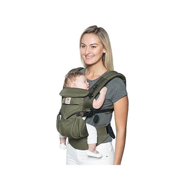 Ergobaby Baby Carrier for Newborn up to 3 Years, 360 Cool Air Khaki Green, 4 Ergonomic Carry Positions Front Back Front Facing, Backpack Carrier Ergobaby Ergonomic baby carrier for the summer, with 4 ergonomic carry positions: front-inward, back, hip, and front-outward. The carrier is suitable for babies and toddlers weighing 3.2 to 20 kg (7-45 lbs), and can be used as a backpack carrier. No infant insert needed NEW - The waistbelt with lumbar support can be worn a little higher or lower to support the lower back and provide optimal comfort, and has adjustable padded shoulder straps. The carrier is suitable for men and women. Maximum baby comfort - Breathable 3D air mesh material provides an optimal temperature for your baby on warm days. The structured bucket seat supports the correct frog-leg position for the baby. The carrier also has a neck support and privacy hood with 50+ UV sun protection. 9