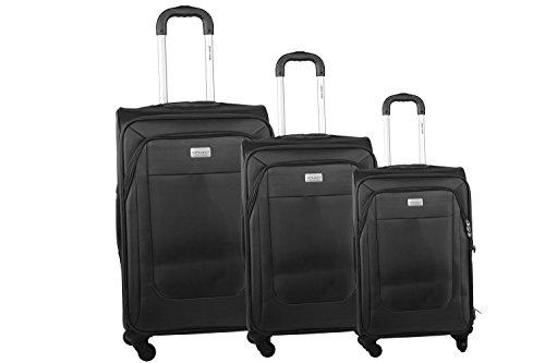 3 Maletas semirrígidas PIERRE CARDIN negro cabina para viajes S285