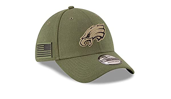 fb7e3cc28 New Era Philadelphia Eagles NFL 2018 Salute To Service 39THIRTY Cap   Amazon.co.uk  Clothing
