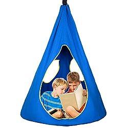 SUCHDECO Hängehöhle Kinder Hängeschaukel Kinder Wassertropfen Design Hochwertiger Hängesessel bis 110 kg belastbar für Indoor Outdoor Kinder Mädchen Junge Blau 158 cm X 83 cm