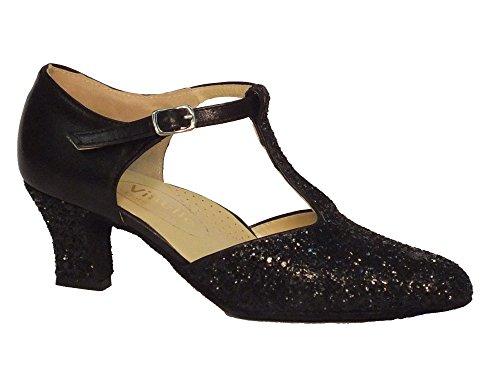 Scarpa da donna per ballo standard in nappa e cristallo colore nero tacco 50E (Taglia 35)
